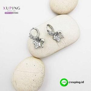 XUPING ANTING CLIP JURAI KUPU SILVER ZIRCON 0162190404