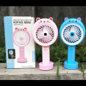 BERUANG KIPAS ANGIN PORTABLE / STANDING MINI FAN LAMPU LED KARAKTER