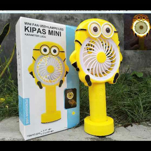 MINION KIPAS ANGIN PORTABLE / STANDING MINI FAN LAMPU LED KARAKTER