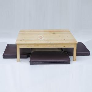 Meja makan lesehan 1x1meter + 4 alas duduk rebonded