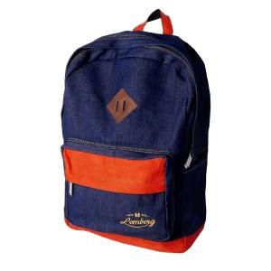 Lomberg Lash Navy Denim Backpack - Tas Ransel Denim Suede - Biru Tua