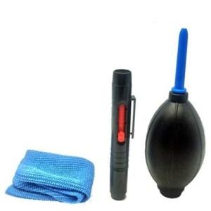 3in1 Lens Cleaner Set DSLR VCR Camera Pen Brush DustBlower Cleaning Cloth Kit/_QA