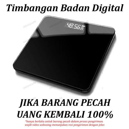 Foto Produk Timbangan Badan Digital 180KG Black White Digital Bathroom Scale - Hitam Polos dari Indoware Online