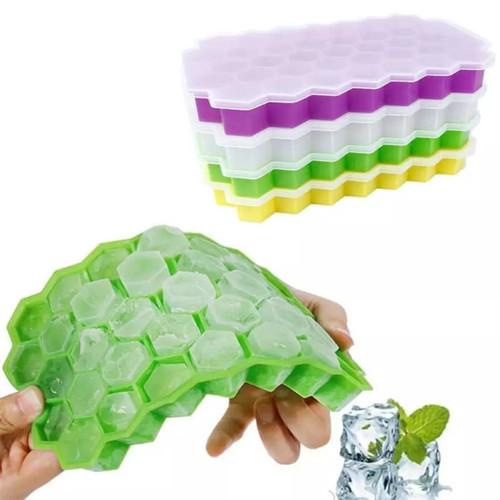 Foto Produk Cetakan Es Batu Silikon Jelly Cube Kubus Bentuk Honeycomb - CIS - DENGAN TUTUP, KUNIG dari Laris49