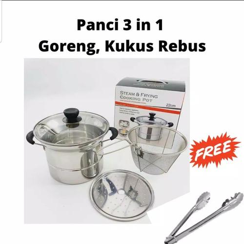 Foto Produk PANCI 3 in 1/ Penggorengan Kentang/ Kukus/ Rebus FREE CAPITAN MAKANAN dari Cellis Houseware