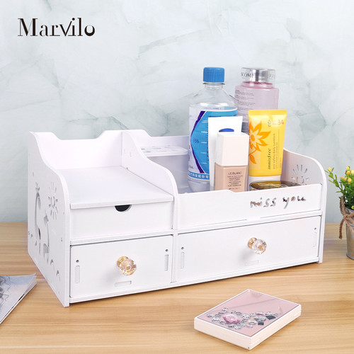Marvilo Rak Kosmetik Kotak Make Up Dengan Cermin 4