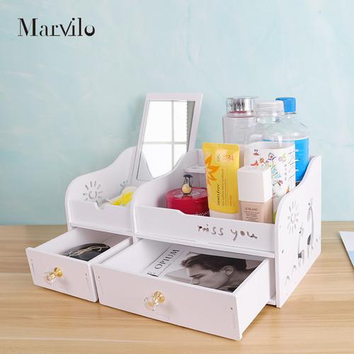 Marvilo Rak Kosmetik Kotak Make Up Dengan Cermin 3
