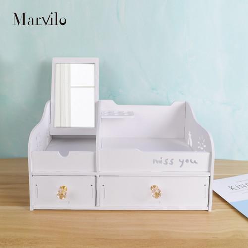 Marvilo Rak Kosmetik Kotak Make Up Dengan Cermin 2