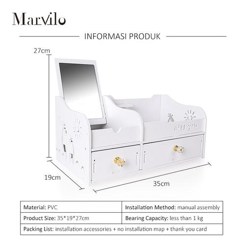 Marvilo Rak Kosmetik Kotak Make Up Dengan Cermin 5