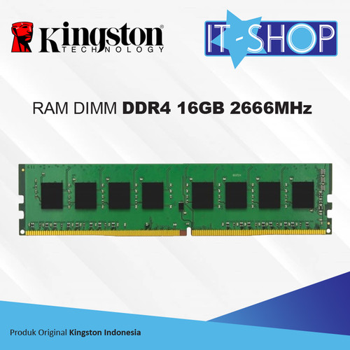 Foto Produk Kingston Memory LongDimm 16GB DDR4 - 2666 KVR25N19S8/16 dari IT-SHOP-ONLINE