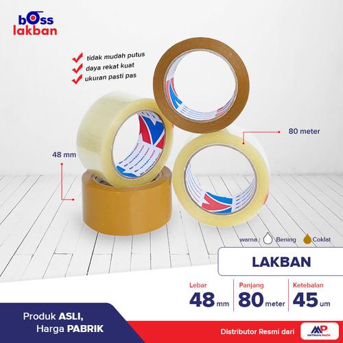 Foto Produk Lakban Bening / Coklat 90 yard FULL x 48 mm / 2 inch Mitran Pack - Putih dari Boss Lakban