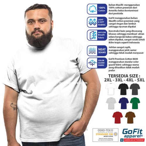 Foto Produk GoFit Premium Cotton 8600 Kaos Polos Big Size Putih 2XL 3XL 4XL 5XL - 2XL, TANPA LOGO dari Printberries