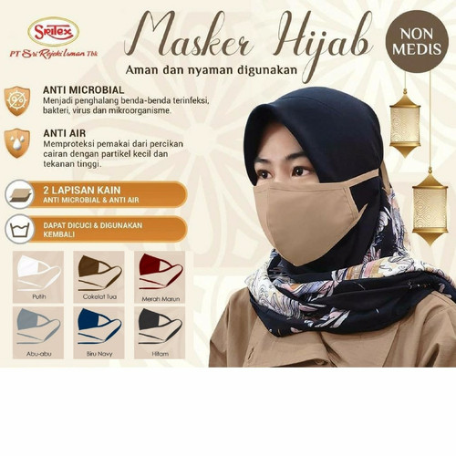 Foto Produk Masker Kain Anti Bakteri 2 PLY - SRITEX PREMIUM - Dewasa Headloop - Putih dari Moteza Indonesia