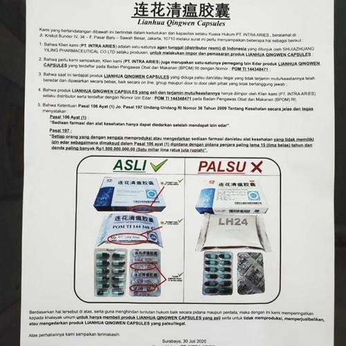 Foto Produk Ready BPOM Lianhua Qingwen Jiaonang / Lian Hua Qing Wen / 24 kapsul dari QQshopper
