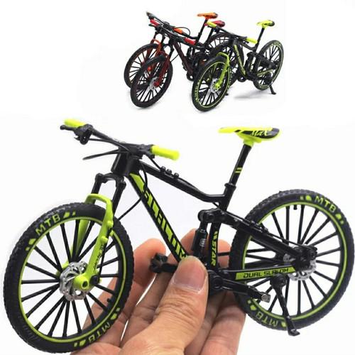 Foto Produk Diecast Miniatur Sepeda Gunung MTB Mini Finger Sepeda Skala 1:10 - Hijau 5A dari patur