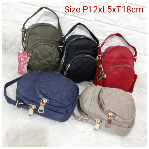 Foto Produk SG67501 Tas Selempang Wanita Import SIGHMON Bordir 2in1 - Navy dari CR BAG IMPORT