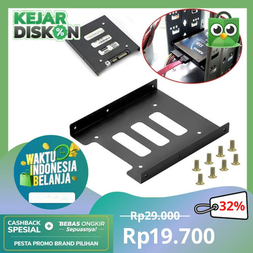 Foto Produk Bracket Mounting Kit Untuk HDD/SSD 2.5 Inch ke 3.5 Inch - Black dari rubic wear