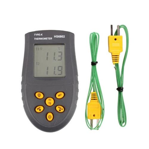 Foto Produk Digital Thermometer Meter Dual-Channel K Type LCD Display HS6802 dari Cheap n Fun