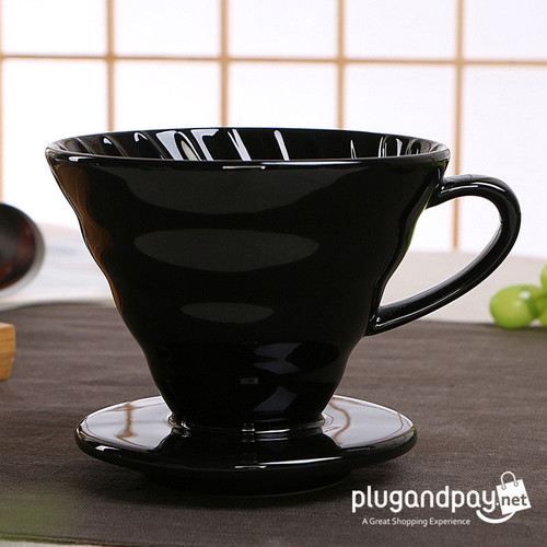 Foto Produk Filter Penyaring Kopi V60 Glass Coffee Filter Dripper 1-4 Cups Drip Ma dari plugandpay