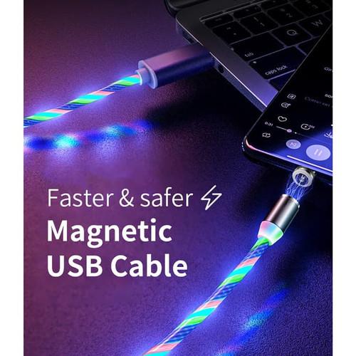 Foto Produk Kabel USB Magnet Charger Flowing LED 3 In 1 Magnetic USB Type C iPhone dari evencio shop