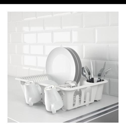 Foto Produk IKEA FLUNDRA Tempat pengering piring,rak piring set + tatakan dari dedengkot wallpaper