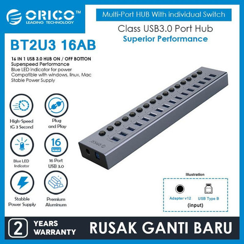 Foto Produk ORICO BT2U3-16AB 16 port USB Hub With Individual Switches dari manekistore