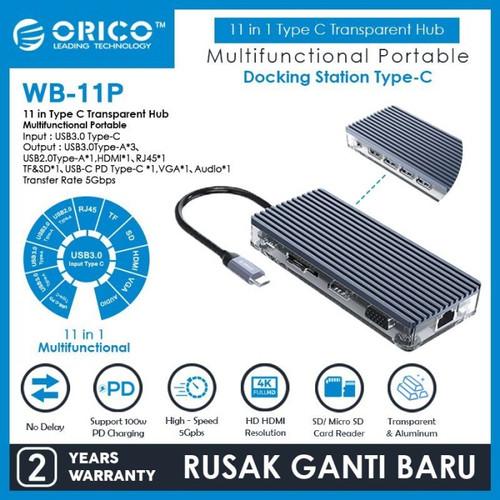 Foto Produk ORICO WB-11P 11in1 Type C Hub USB 3.0 2.0 HDMI VGA Audio RJ45 TF SD dari manekistore