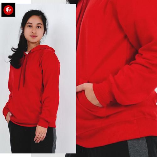 Foto Produk OLA Jaket Sweater Hoodie Jumper Bahan FLEECE Basic Polos Okechuku - Merah, L dari Okechuku