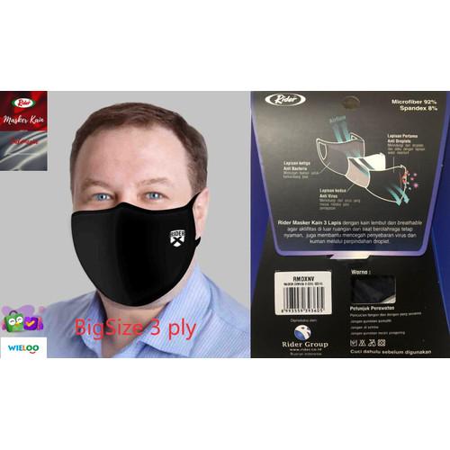 Foto Produk Masker Kain Rider BIG SIZE Anti Bakteri 2 ply (Earloop) - HItam 3 ply dari wieloo
