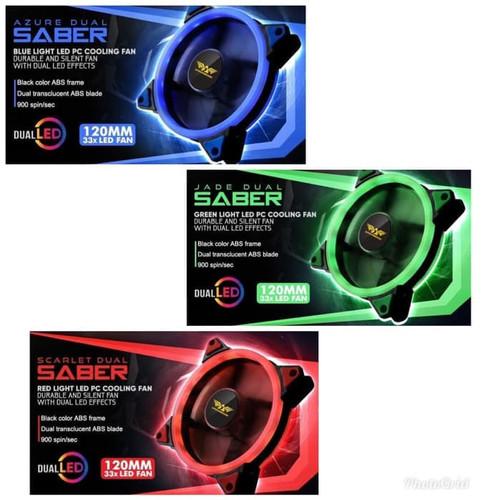 Foto Produk Armaggeddon AZURE / SCARLET / JADE DUAL SABER 12CM LED FAN - Merah dari manekistore