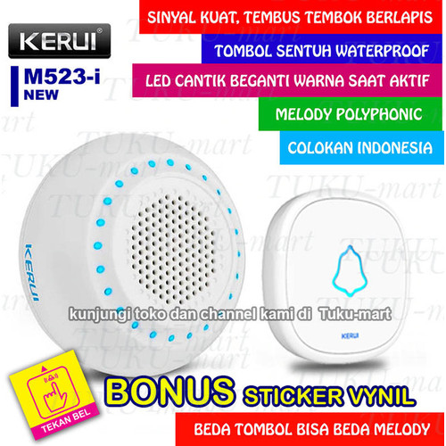 Foto Produk Bel Rumah Wireless Door Bell Waterproof Pintu 1 remote 1 Receiver dari Tuku-Mart