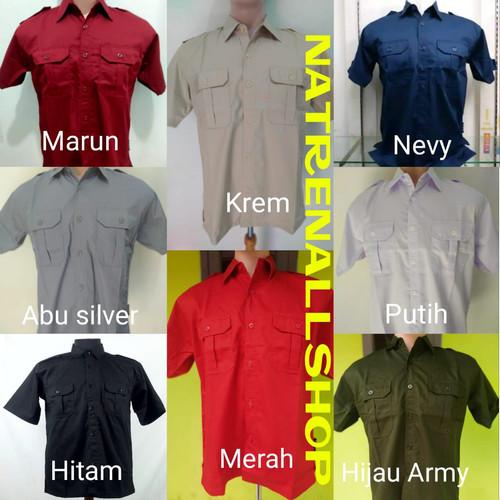 Foto Produk Baju PDH, Kemeja Pangkat Lengan PendekPendek - Merah, L dari Natrenallshop