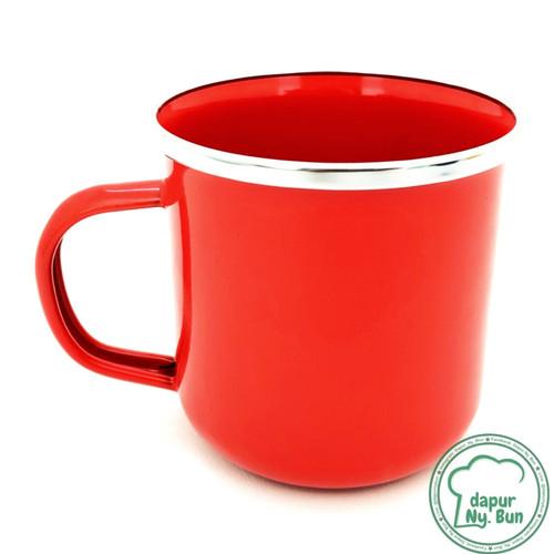 Foto Produk Premium Mug Enamel POLOS 400ml / Cangkir Kopi Seng - SKU 2 - Merah dari Dapur Ny.Bun