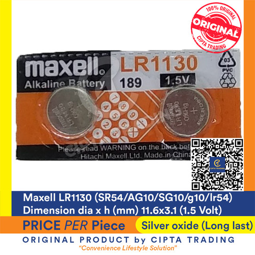 Foto Produk Button Cell - Maxell - LR1130 dari Cipta Trading