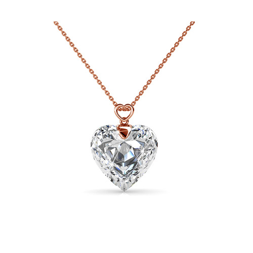 Foto Produk Cheery Heart Pendant - Kalung Crystal Swarovski by Her Jewellery - Rose Gold dari Her Jewellery