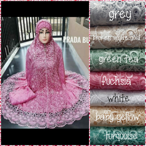 Foto Produk Mukenah renda seroja bordir Swarovski sutra paris(mewah)+tas cantik dari Winnie Collection