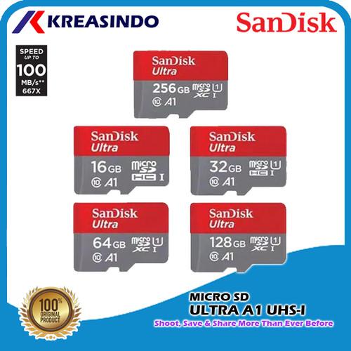 Foto Produk Sandisk Ultra A1 Microsd 16gb 32gb 64gb 128gb 256gb Garansi Resmi - 128 gb dari Kreasindo Online