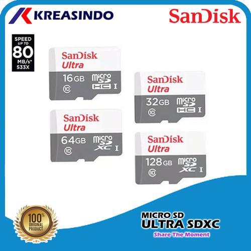 Foto Produk Sandisk Ultra Microsd 16gb 32gb 64gb 128gb 256gb 80mb/s Garansi Resmi - 16 gb dari Kreasindo Online