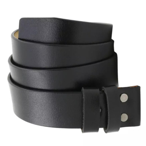 Foto Produk Import GENUINE LEATHER BELT without BUCKLE SABUK IKAT PINGGANG KULIT - Hitam dari DO OFFICIAL STORE