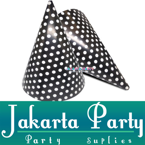 Foto Produk Topi Kerucut Hitam Polkadot / Topi Ultah / Topi Ulang Tahun dari Jakarta Party