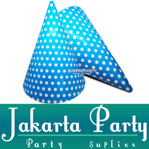 Foto Produk Topi Kerucut Biru Polkadot / Topi Ulang Tahun / Topi Ultah dari Jakarta Party