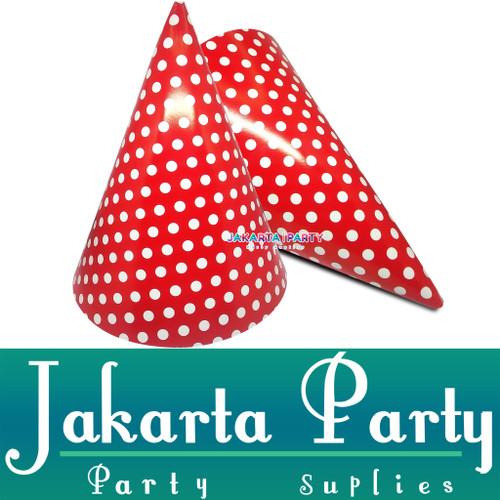Foto Produk Topi Kerucut Merah Polkadot / Topi Ultah / Topi Ulang Tahun dari Jakarta Party