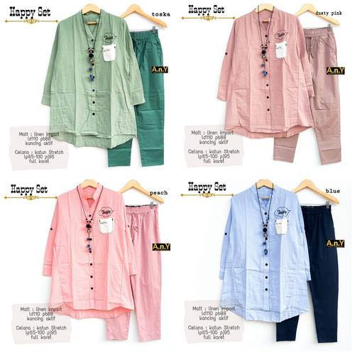 Foto Produk New Happy Set Setelan Celana Wanita Baju Kerja Modis Cantik LD 110cm dari Ilyassa Shop