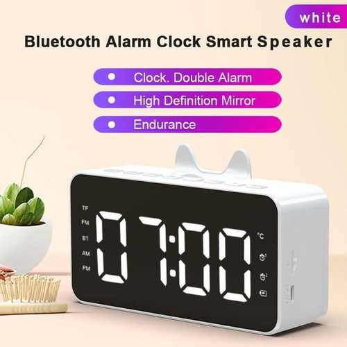 Foto Produk Cinseer Q9 Speaker Bluetooth 5.0 Jam Alarm LED Mirror TF Card Slot - Putih dari manekistore