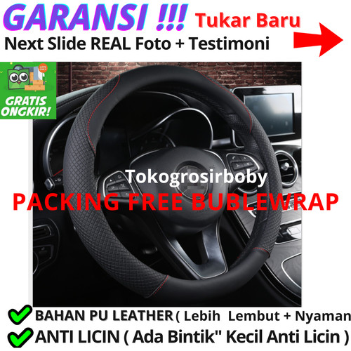 Foto Produk Cover Stir Mobil Sarung Stir Mobil Bahan Kulit 38 Cm BLACK - COVER STIR dari tokogrosirboby