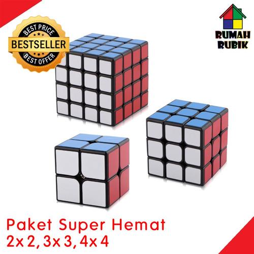 Foto Produk PROMO Paket Rubik 2x2 Rubik 3x3 Rubik 4x4 / Rubik Yongjun / Mainan - Hitam dari Rumah Rubik
