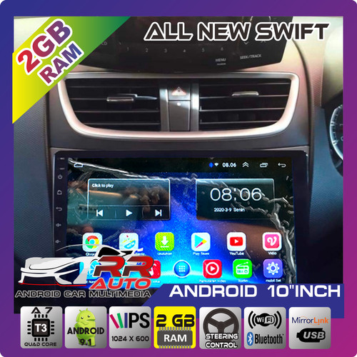 Foto Produk All new swift 2013-2018 | head unit android 10in (free kamera parkir) dari autotesla,car android