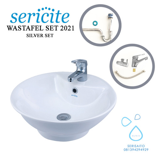 Foto Produk Wastafel Mangkok Bulat SERICITE 2021 Silver Set + Kran / Keran+ Sifon dari serisaito