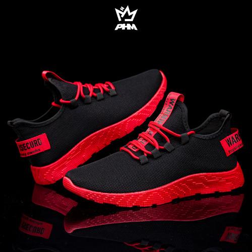 Foto Produk PHM Shoes Sepatu Pria Sneakers Import Sepatu Olahraga Kasual PHM103 - Hitam Merah, 44 dari PHM Official Store