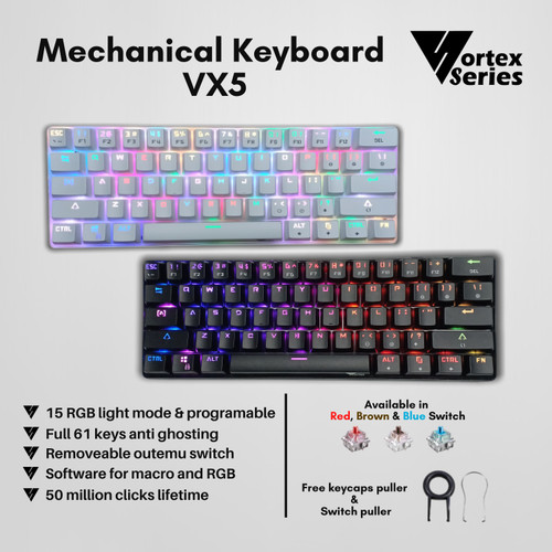 Foto Produk VortexSeries Mechanical Keyboard VX5 - Putih, Outemu Brown dari VortexSeries